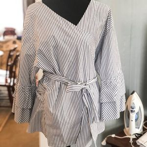 LOFT Top Long Bell Sleeve Blue and White Wrap Top